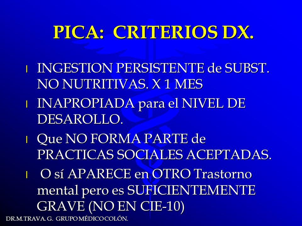 DR.M.TRAVA.G. GRUPO MÉDICO COLÓN. PICA. CARACTERISTICAS.