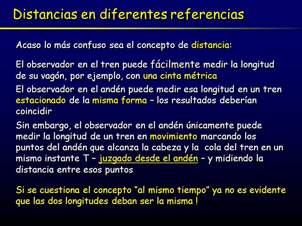 Un conflicto con la física clásica Newton dice: Los intervalos de espacio y tiempo son absolutos e independientes del movimiento del observador - es la velocidad de la luz la que es relativa Newton dice: Los intervalos de espacio y tiempo son absolutos e independientes del movimiento del observador - es la velocidad de la luz la que es relativa Einstein dice La velocidad de la luz es absoluta e independiente del movimiento del observador – son los intervalos de espacio y de tiempo los que son relativos Einstein dice La velocidad de la luz es absoluta e independiente del movimiento del observador – son los intervalos de espacio y de tiempo los que son relativos