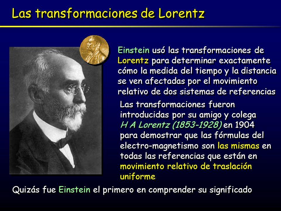 Una aproximación a las transformaciones de Lorentz: Una aproximación a las transformaciones de Lorentz: Podemos usar un versión simplificada de las transformaciones de Lorentz (estrictamente llamada contracción de Lorentz- Fitzgerald) para calcular cómo nuestra percepción del flujo del tiempo varía de una referencia a otra: En este cálculo no usaremos más que el sobradamente conocido Teorema de Pitágoras (582-507AC) : En este cálculo no usaremos más que el sobradamente conocido Teorema de Pitágoras (582-507AC) : A A B B C C A 2 = B 2 + C 2 El cuadrado de la hipotenusa es igual a la suma de los cuadrados de los catetos