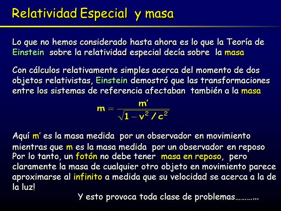 Fuerza y aceleración Aunque la relatividad especial se refiere a los objetos que se mueven con una velocidad constante, es necesario también tener en cuenta la aceleración En la Física Clásica Newton asociaba la masa con la inercia del objeto (masa inercial) – cuanto mayor es la masa más fuerza se necesita para moverlo.
