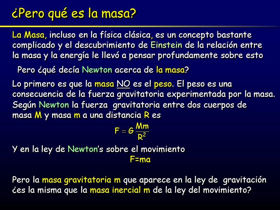La Teoría General de la Relatividad Si la masa gravitatoria m es la misma que la masa inercial m entonces y y Lo que implica que bajo la influencia de la gravedad todos los objetos aceleran del mismo modo independientemente de su masa (Cómo Galileo demostró en Pisa) Lo que implica que bajo la influencia de la gravedad todos los objetos aceleran del mismo modo independientemente de su masa (Cómo Galileo demostró en Pisa) Por lo tanto, las leyes de Newton permiten que la masa inercial y gravitacional sean la misma -pero ellas no lo exigen, y más precisamente no lo prueban -simplemente es una útil coincidencia Einstein publicó su Teoría de la Relatividad General en 1915 y todo se clarificó………pero realmente comenzó en 1907 con lo que Einstein más tarde llamó la idea más feliz de mi vida