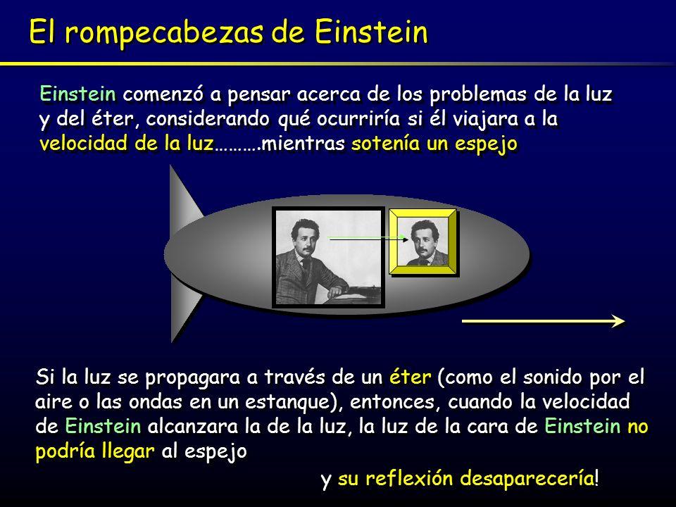 Una doble paradoja Este experimento mental produce una doble paradoja Si Einstein veía que su imagen en el espejo desaparecía, él entonces s abría, sin usar ningún punto de referencia externo, que estaba viajando a la velocidad de la luz Paradoja I: Trescientos años antes de Einstein, Galileo (1564-1642) ya había sugerido un Principio de Relatividad que afirmaba que todo movimiento es relativo y no puede ser detectado sin una referencia a un punto exterior