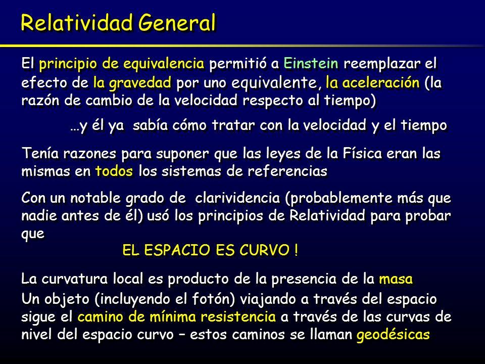 Espacio Curvo El espacio curvo explica eficientemente la coincidencia de la masa inercial y gravitacional, que pasa a ser la misma y además reemplaza la Fuerza Gravitacional de Newton