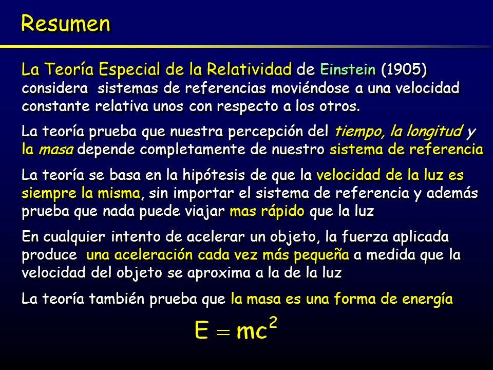 La Teoría General Einstein extendió su Teoría Especial de la Relatividad (1905) para tener en cuenta los sistemas de referencias en aceleración.