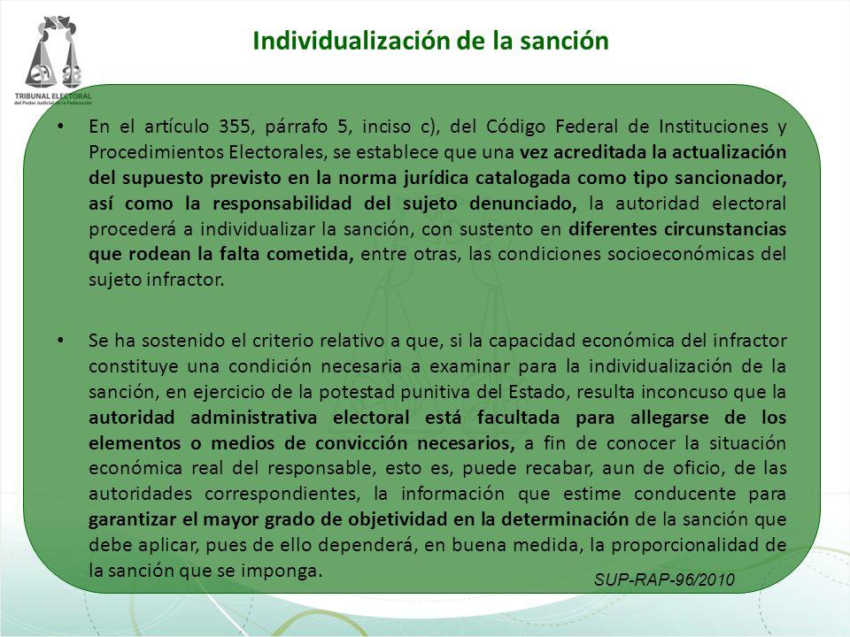 Individualización de la sanción La obligación de atender a la situación económica del infractor se sustenta en que la afectación producida con la imposición de una sanción pecuniaria depende del estado patrimonial del responsable.