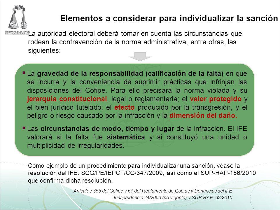 La autoridad electoral deberá tomar en cuenta las circunstancias que rodean la contravención de la norma administrativa, entre otras, las siguientes: Elementos a considerar para individualizar la sanción Las condiciones socioeconómicas del infractor.