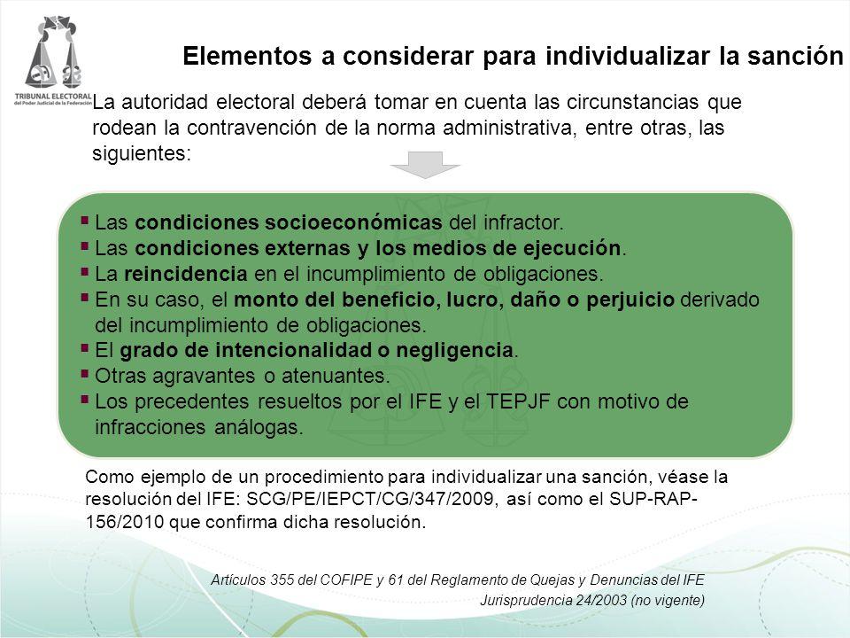 SUP- RAP 01/2007 Adicionalmente, la Sala Superior del TEPJF ha considerado en casos específicos, que también se deben considerar los siguientes elementos: Si existe dolo o falta de cuidado.