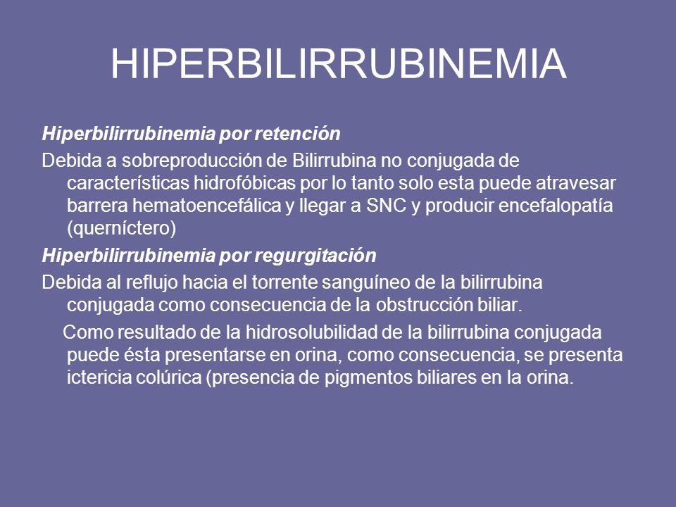Padecimientos que incrementan los valores de Bilirrubina Bilirrubina directa (conjugada) Disfunción hepatocelular Cirrosis hepática,Colestasis intrahepática,Infecciones por espiroquetas, mononucleosis infecciosa, colangitis sarcoidosis, linfomas Obstrucción biliar Coledocolitiasis, atresia biliar, carcinoma de conducto biliar, colangitis esclerosante, quiste del colédoco, pancreatitis Función excretora defectuosa de los hepatocitos Síndrome de Dubin – Johnson Sindrome de Rotor