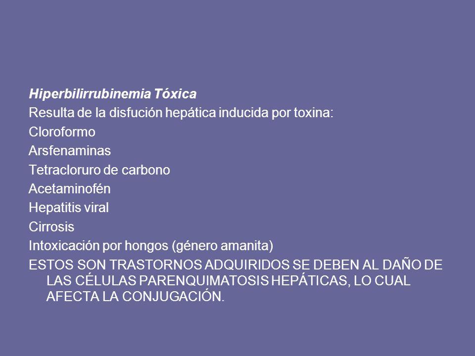 Bilirrubina indirecta (no conjugada) Defecto en la producción Hemólisis Eritropoyesis ineficaz Hematoma Inmadurez del hígado Insuficiencia cardiaca congestiva Defecto en la captación conjugación y almacenamiento de la bilirrubina Síndrome de Gilbert Síndrome de Crigler – Najjar I y II Reacciones a fármacos