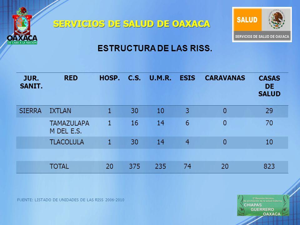 ESTRUCTURA DE APOYO FUENTE: DIAGNOSTICO DE LAS RISS- 2009.