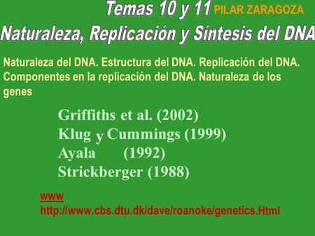 Y Griffiths et al. (2002) Klug Cummings (1999) Ayala(1992) Strickberger (1988) www  Naturaleza del DNA.