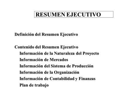 business plan resumen ejecutivo 28 images resumen