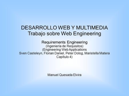 DESARROLLO WEB Y MULTIMEDIA Trabajo sobre Web Engineering