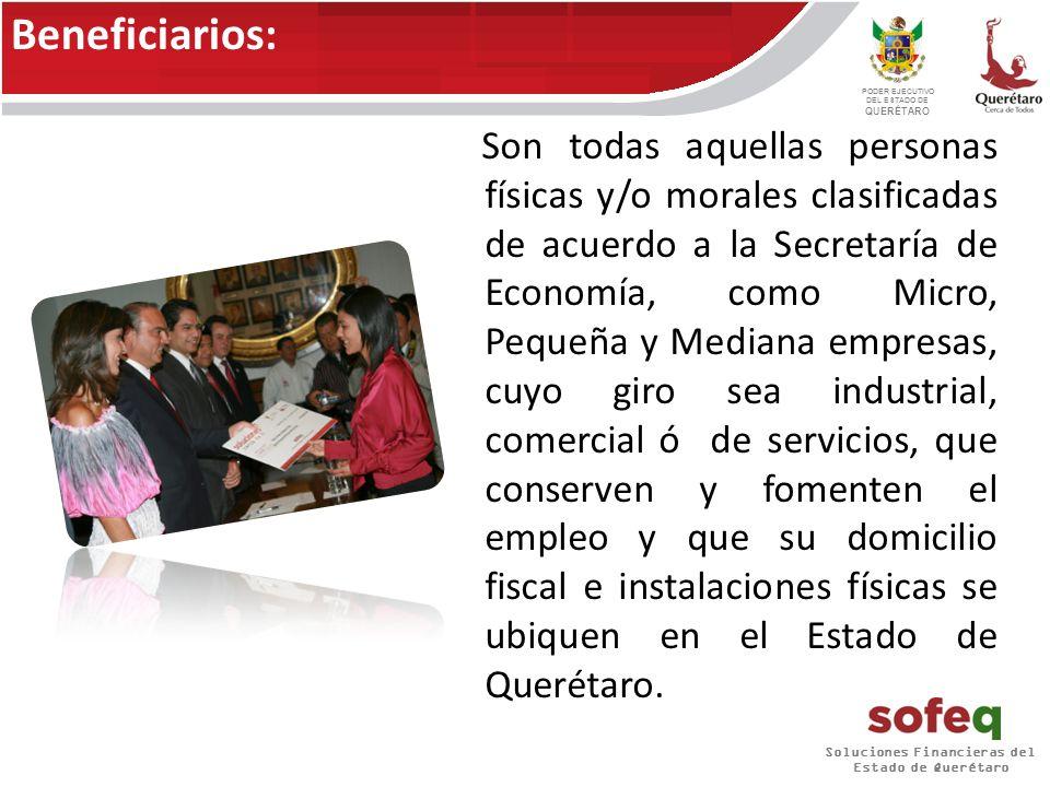 Soluciones Financieras del Estado de Querétaro PODER EJECUTIVO DEL ESTADO DE QUERÉTARO Capital de trabajo Equipamiento y/o infraestructura: Tipos de financiamiento: