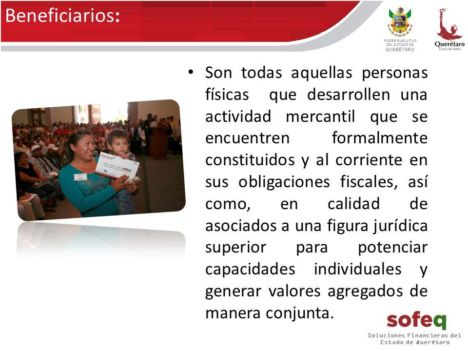 Soluciones Financieras del Estado de Querétaro PODER EJECUTIVO DEL ESTADO DE QUERÉTARO Capital de trabajo: Equipamiento y/o infraestructura: Tipos de financiamiento: