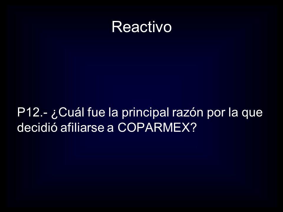 Reactivo P13.- ¿Cuál es la razón que para usted es más importante para participar en Coparmex?