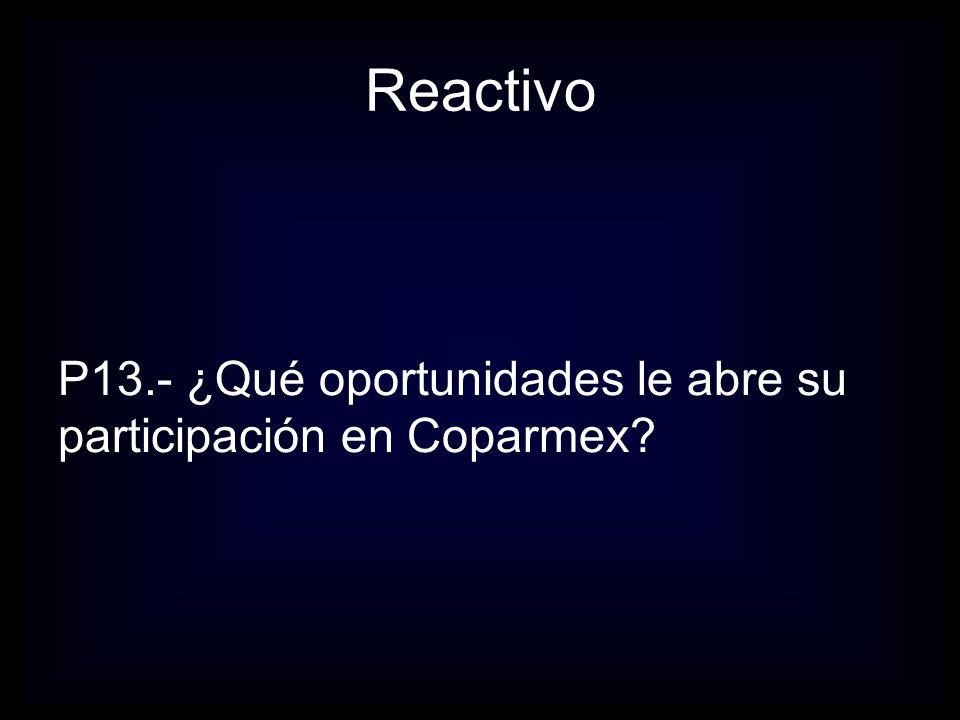 Reactivo P14.- Hasta ahora ¿Cuáles considera que han sido los tres principales beneficios obtenidos de la relación con COPARMEX?
