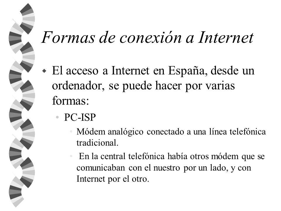 Otras formas de conexión Línea que nos una al nodo de Internet más cercano: líneas punto a punto, Frame Relay ATM.