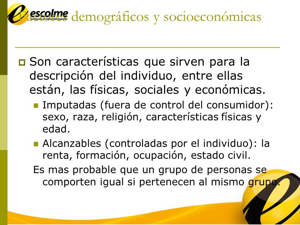 Demográficos y socioeconómicas Ventajas de los modelos socioeconómicos Datos fáciles de recopilar y comunicar Permiten extraer respuestas fiables Se puede extrapolar fácilmente.
