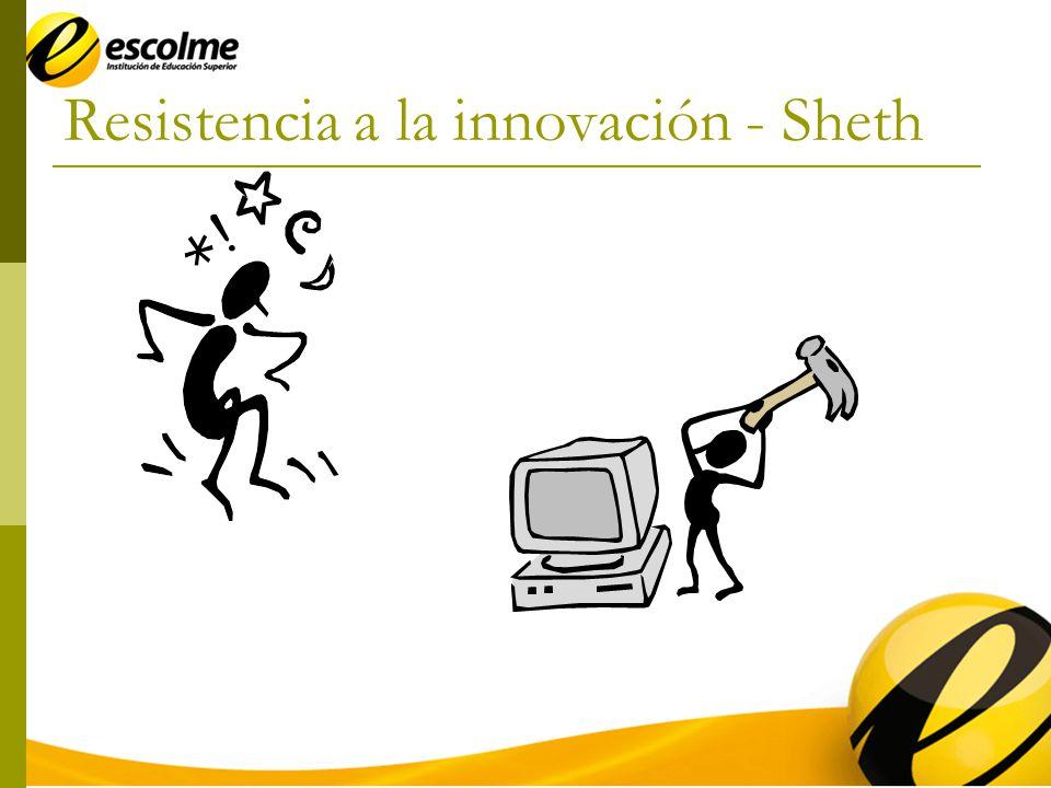 Innovaciones que crean una resistencia dual (programas sociales) Innovaciones que crean una resistencia al hábito (innovaciones continuas) Innovaciones que crean una resistencia al riesgo (innovaciones discontinuas) Innovaciones no crean ninguna resistencia (caprichos y artículos de moda) Débil Fuerte Elevado Reducido Riesgo Hábito