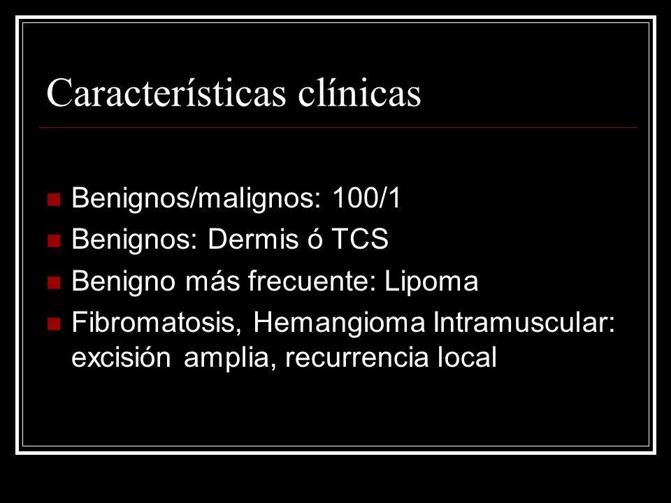 Características clínicas Biopsia excisional: inapropiada Biopsia previa: 1.