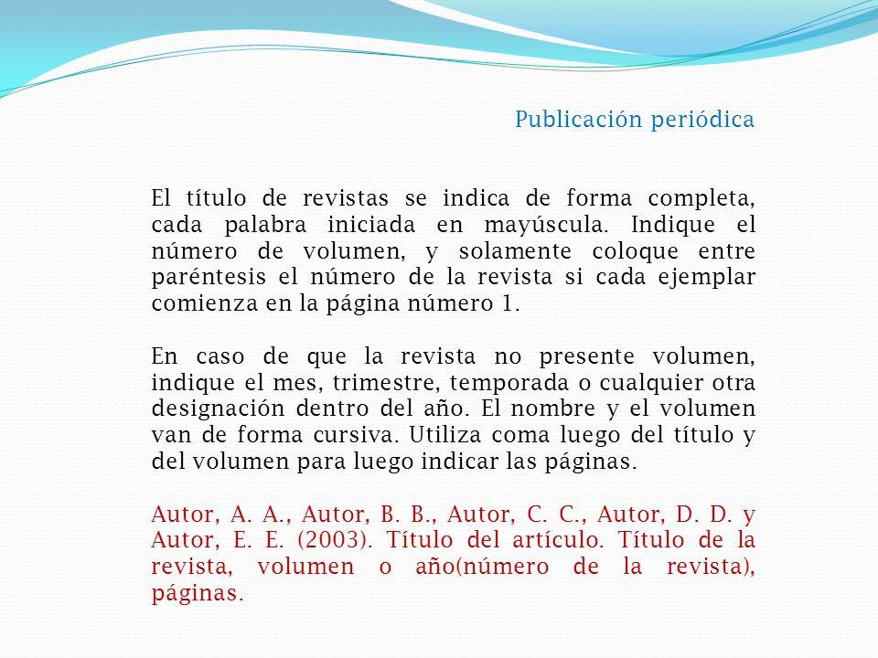 Publicación no periódica El título de un libro u obra se indica de forma completa, con mayúscula en la primera letra del mismo y la primera letra del subtítulo de existir este.