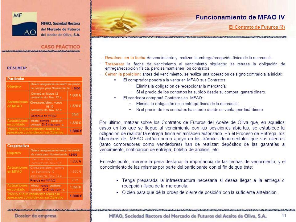12 Funcionamiento de MFAO V Esquema básico de las operaciones Mayo de 2011 Enero de 2012 Comprador B Casan Ordenes que coinciden en cantidad, precio y vencimiento.
