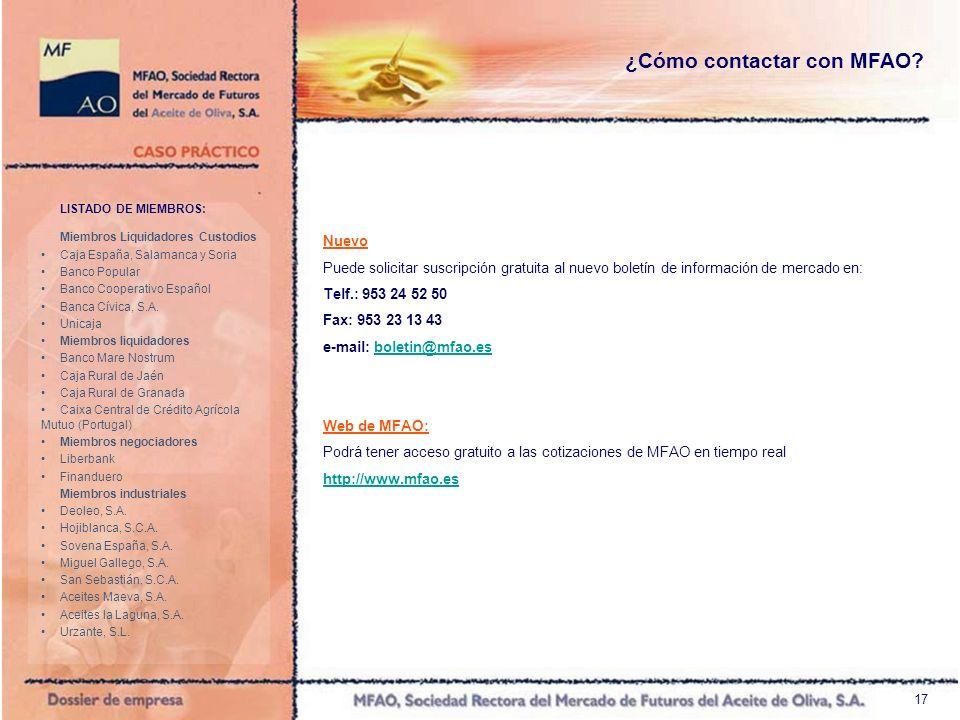18 Unicaja Teléfono de Contacto: (+34) 913305801 Fax: (+34) 913305816 Operadores: Alfredo Cacho – Ana Belén Moreno Banco Popular Teléfono de Contacto: (+34) 915779759 Fax: (+34) 914358922 Operadores: Estela Aurora Morales – Roberto Vilar Caja Rural de Jaén Teléfono de Contacto: (+34) 953210114 Fax: (+34) 953210168 Operadores: Susana Anguita – Lucas Guillén – Teresa Lendínez Caja Rural de Granada Teléfono de Contacto: (+34) 958242418 Fax: (+34) 958242428 Operadores: Juan Antonio Molina - Antonio Serrano Banco Mare Nostrum Teléfono de Contacto: (+34) 958244484 Fax: (+34) 958244507 Operador: Ana María Rueda Ibañez Liberbank Teléfono de Contacto: (+34) 927255226 Fax: (+34) 927214470 Operador: Ignacio Pita Banca Cívica Teléfono de Contacto: (+34) 954597374 Fax: (+34) 954597335 Operador: Germán Ramos Román Finanduero Teléfono de Contacto: (+34) 914325421 Fax: (+34) 914325404 Operador: Carlos Llorente Agudo Caja España Salamanca y Soria Teléfono de Contacto: (+34) 915139112 Fax: (+34) 915139115 Operador: Ricardo Fernández Pulido Caixa Central de Crédito Agrícola Mutuo, C.R.L.