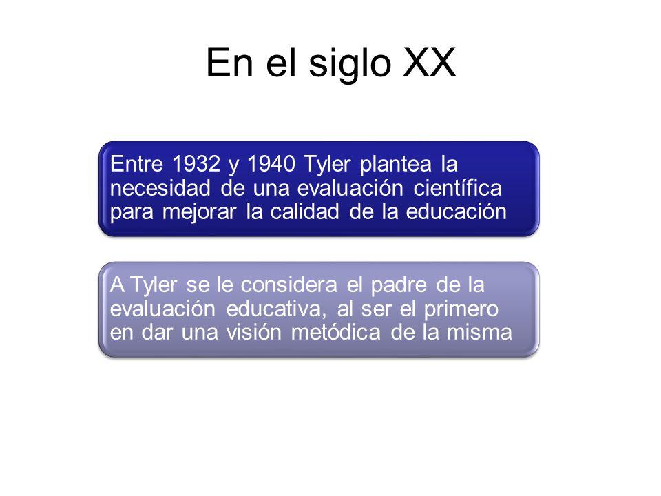 A partir de la propuesta de Tyler: A continuación se describe la Concepción de la Evaluación a partir de las diferentes corrientes educativas Han surgido diferentes perspectivas teóricas en torno a la evaluación