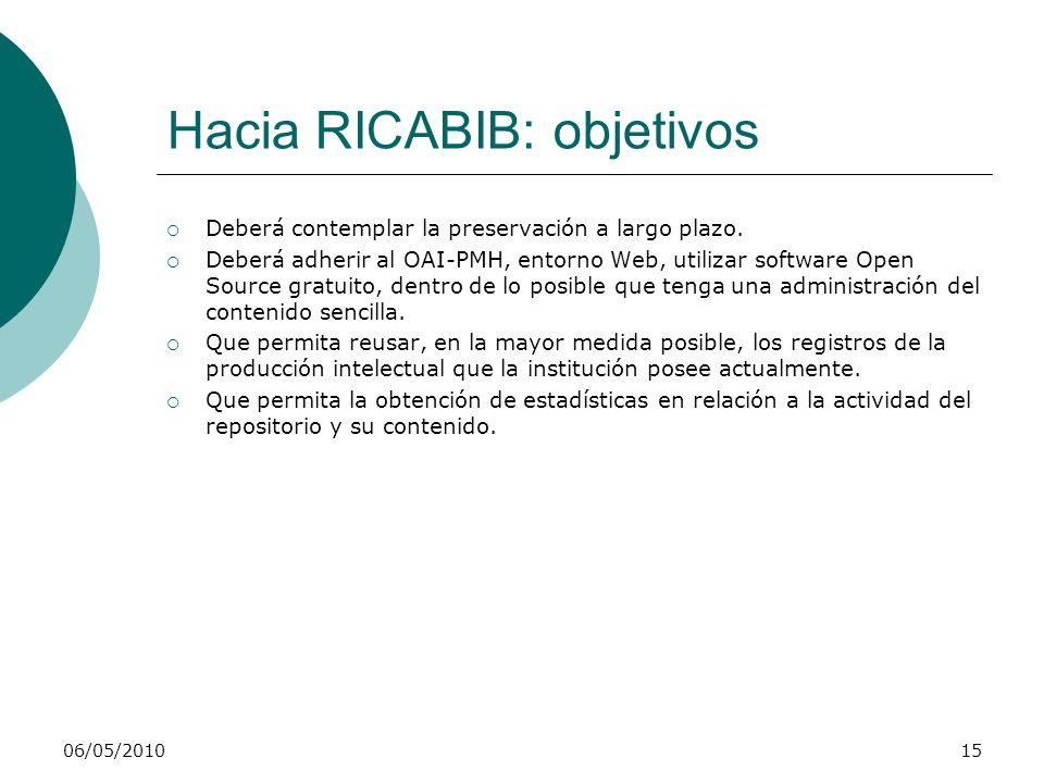 06/05/201016 Hacia RICABIB: evaluación de software