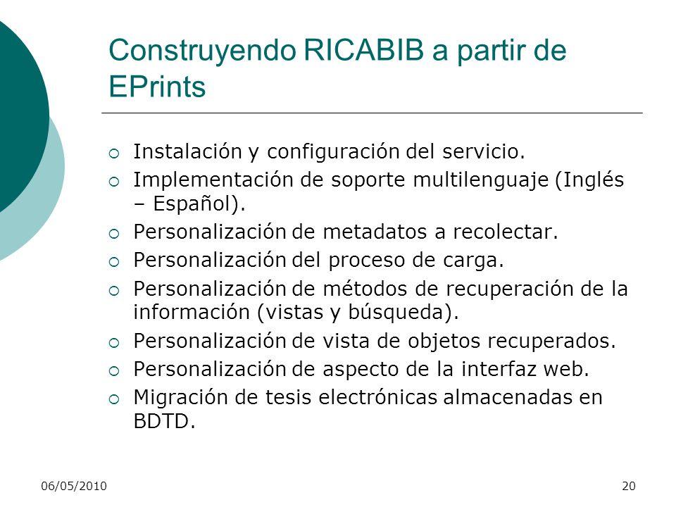 Construyendo RICABIB a partir de EPrints 06/05/201021