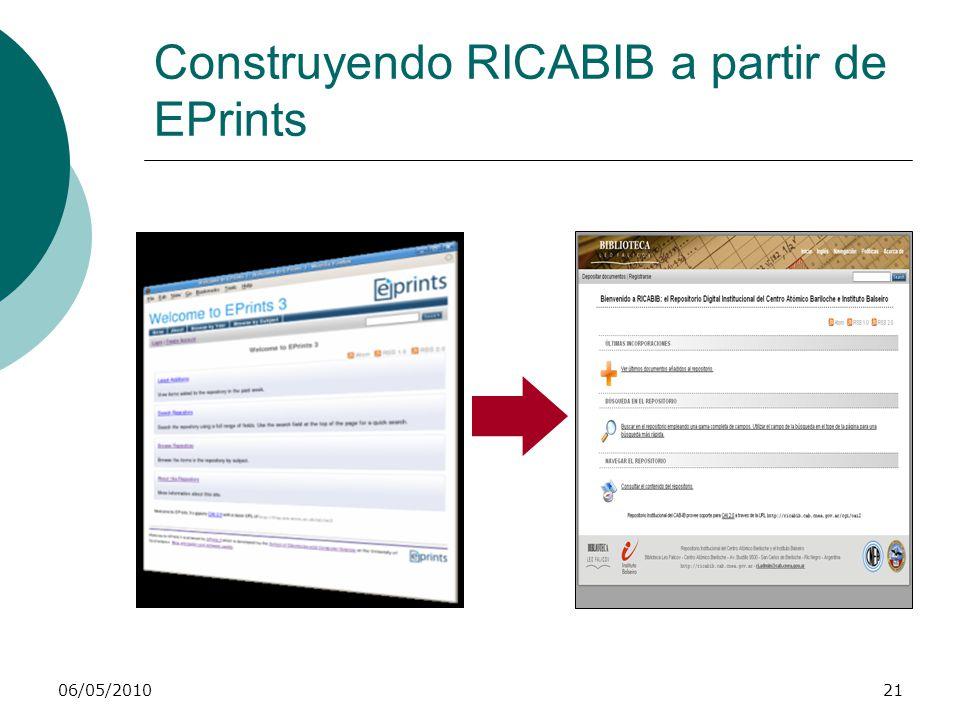 RICABIB: demostración práctica Usuarios Visitantes Usuarios registrados Editores Administradores Registro y administración de perfil 06/05/201022