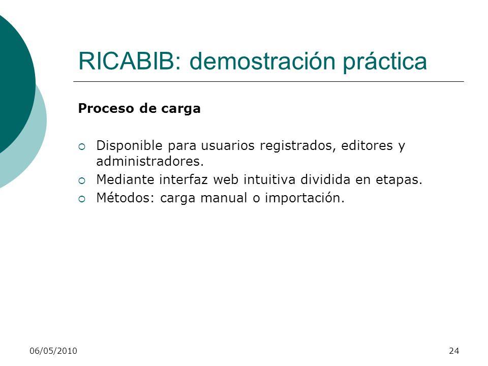 RICABIB: demostración práctica Navegación y recuperación de objetos Vistas: agrupan los objetos según diferentes criterios.