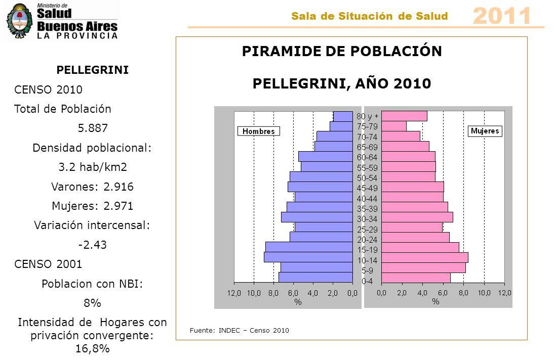 Fuente: INDEC – Censo 2010 PIRAMIDE DE POBLACIÓN RIVADAVIA, AÑO 2010 RIVADAVIA CENSO 2010 Total de Población 17.143 Densidad poblacional: 4.4 hab/km2 Varones: 8.779 Mujeres: 8.364 Variación intercensal: 9.86 CENSO 2001 Poblacion con NBI: 9.3% Intensidad de Hogares con privación convergente: 20,6% 2011 Sala de Situación de Salud