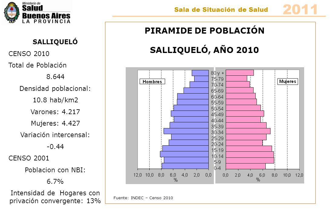 Fuente: INDEC – Censo 2010 PIRAMIDE DE POBLACIÓN TRENQUE LAUQUEN, AÑO 2010 TRENQUE LAUQUEN CENSO 2010 Total de Población 43.021 Densidad poblacional: 7.8 hab/km2 Varones: 21.054 Mujeres: 21.967 Variación intercensal: 6.60 CENSO 2001 Poblacion con NBI: 8.4% Intensidad de Hogares con privación convergente: 14,8% 2011 Sala de Situación de Salud
