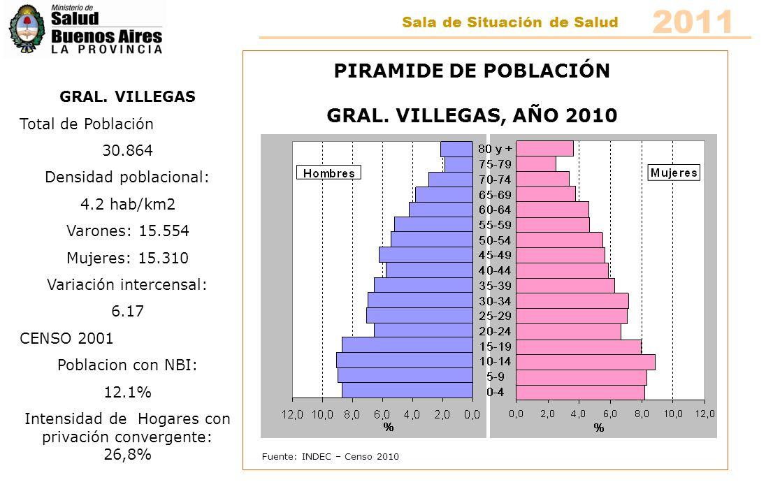 Fuente: INDEC – Censo 2010 PIRAMIDE DE POBLACIÓN HIPÓLITO IRIGOYEN, AÑO 2010 HIPÓLITO IRIGOYEN CENSO 2010 Total de Población 9.585 Densidad poblacional: 5.8 hab/km2 Varones: 4.739 Mujeres: 4.846 Variación intercensal: 7.99 CENSO 2001 Poblacion con NBI: 8.6% Intensidad de Hogares con privación convergente: 16,2% 2011 Sala de Situación de Salud