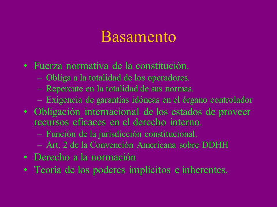 Parámetros de las garantías de control de inconstitucionalidad por omisión Art.