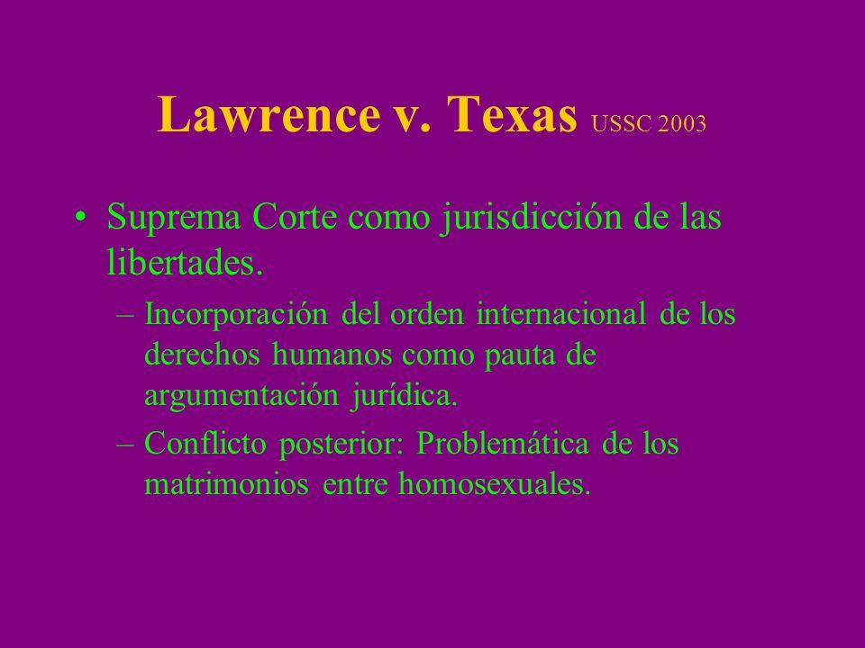Lawrence v.Texas (2003) Constitucionalidad del estatuto de Texas penalizando la sodomía.