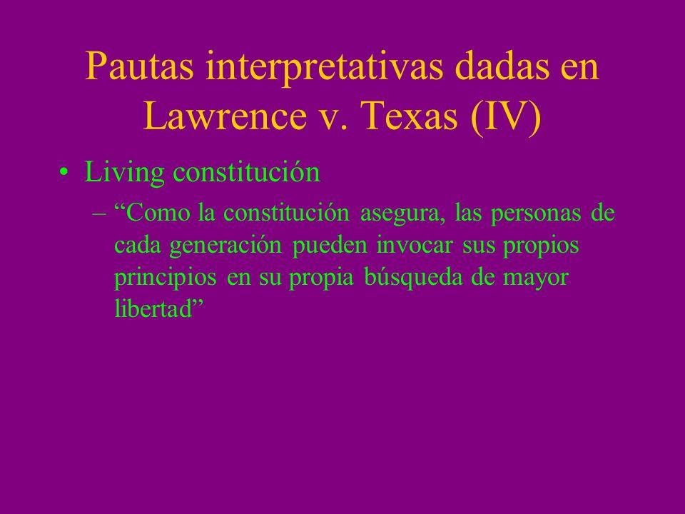 Pautas interpretativas dadas en Lawrence v.
