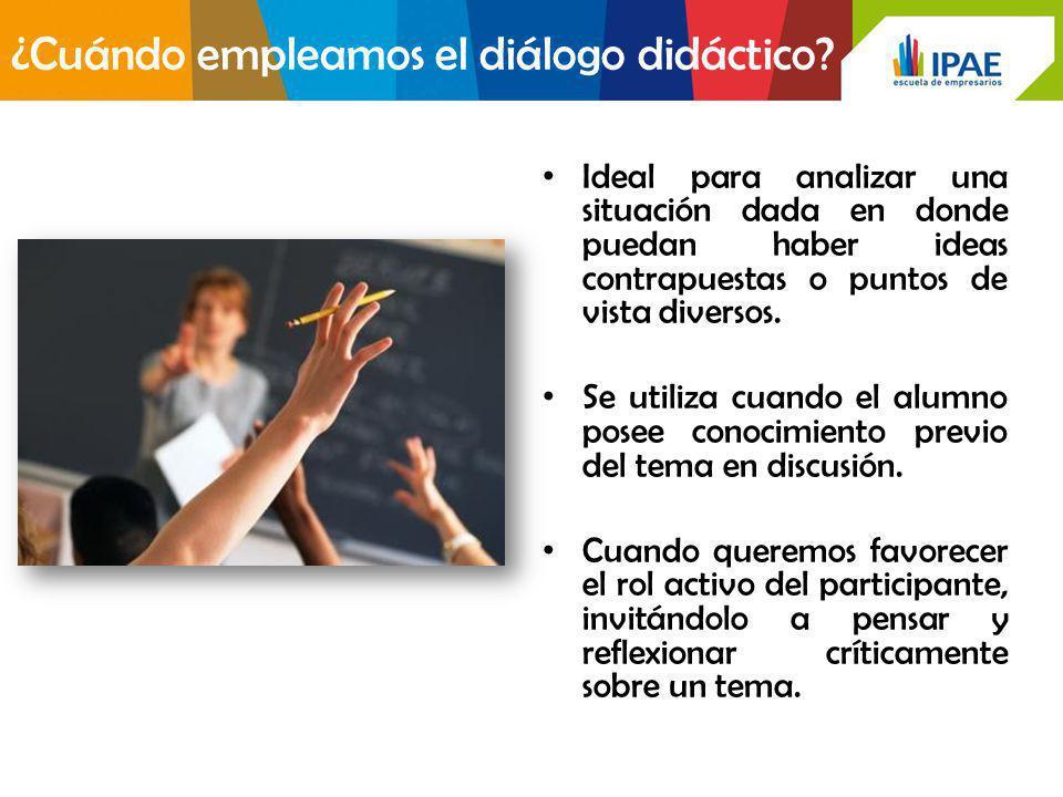 Ventajas del diálogo didáctico: Nos permite conocer el nivel de dominio, intereses e inquietudes de nuestros alumnos.