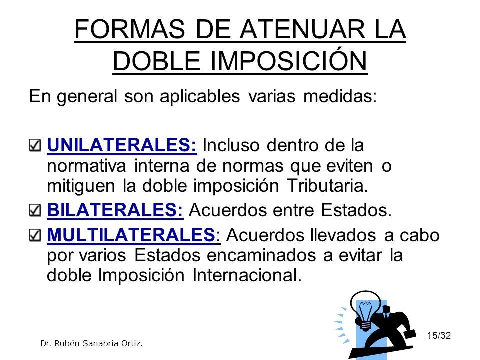 16/32 LA DOBLE IMPOSICIÓN: MÉTODOS DE ATENUACIÓN 1.IMPUTACIÓN: El Estado de residencia somete a gravamen todas las rentas de la persona, incluidas las que obtiene en el extranjero.