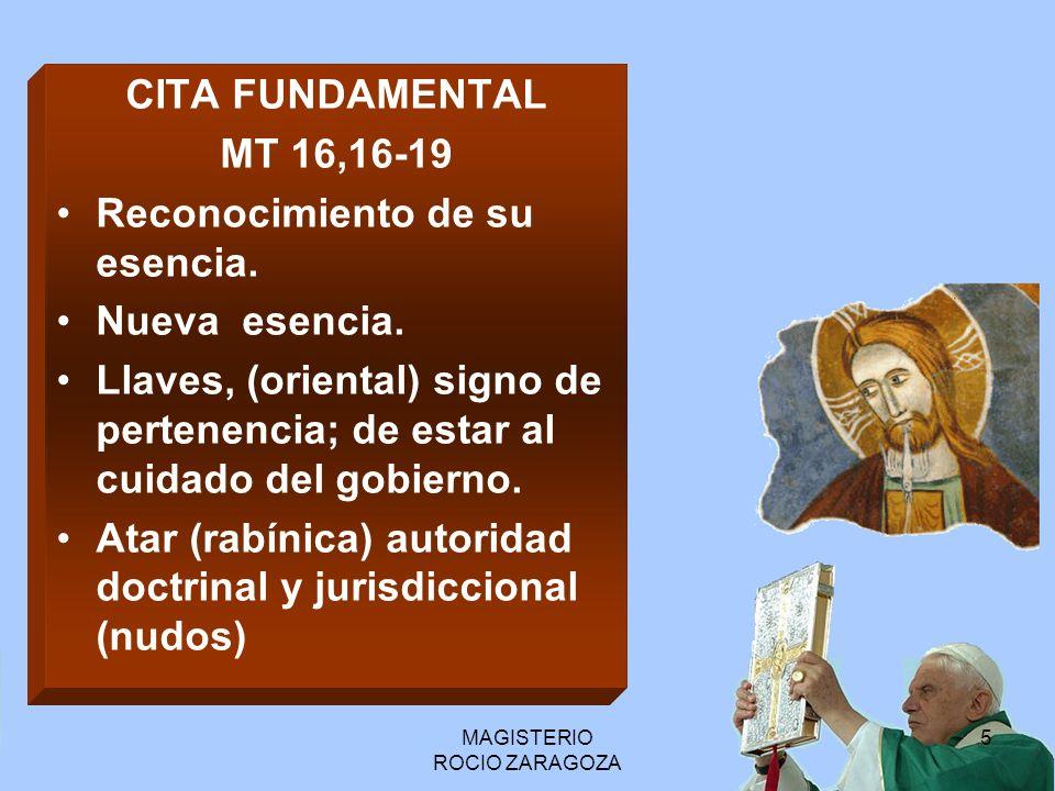 MAGISTERIO ROCIO ZARAGOZA 6 Otras citas Bíblicas Lc 22, 31-32 Jn 16,13 Jn 14,26, 1 Tim 3,15 Jn 21, 15-17 Lc 10,16 1 Jn 2, 27 Mt 10,2 Jn 8,31-32 Mc 5,37 - Mt 17,1 – Mt 26,37 – Lc 5,3 - Mt 17,27 – Lc 22,32 – Lc 24,34 – 1 Cor 15,5