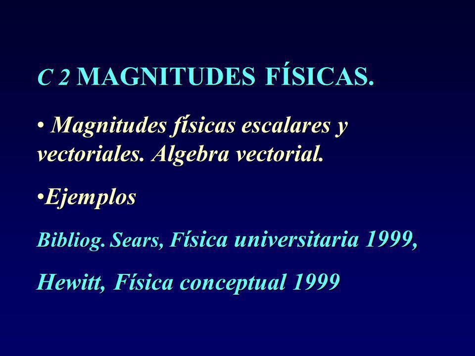 C 2 MAGNITUDES FÍSICAS.Magnitudes f í sicas escalares y vectoriales.