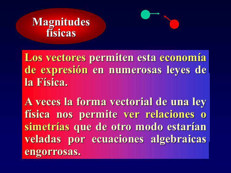 Muchas de las leyes de la física implican no sólo relaciones algebraicas entre cantidades sino también relaciones geométricas.