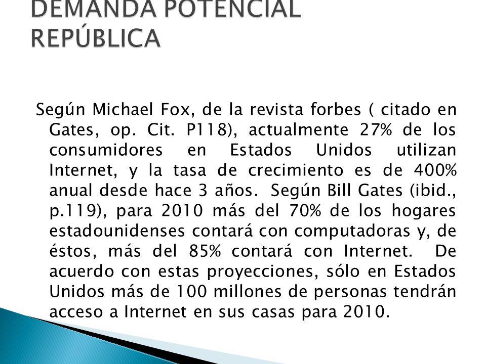 Aunque en México la tasa de crecimiento de uso de Internet es menor que en Estados Unidos, República estima lo siguiente con respecto a la demanda potencial que tendrá CORTO PLAZO: Cubrir 50% del mercado potencial en Monterrey, estimando en 68 empresas.