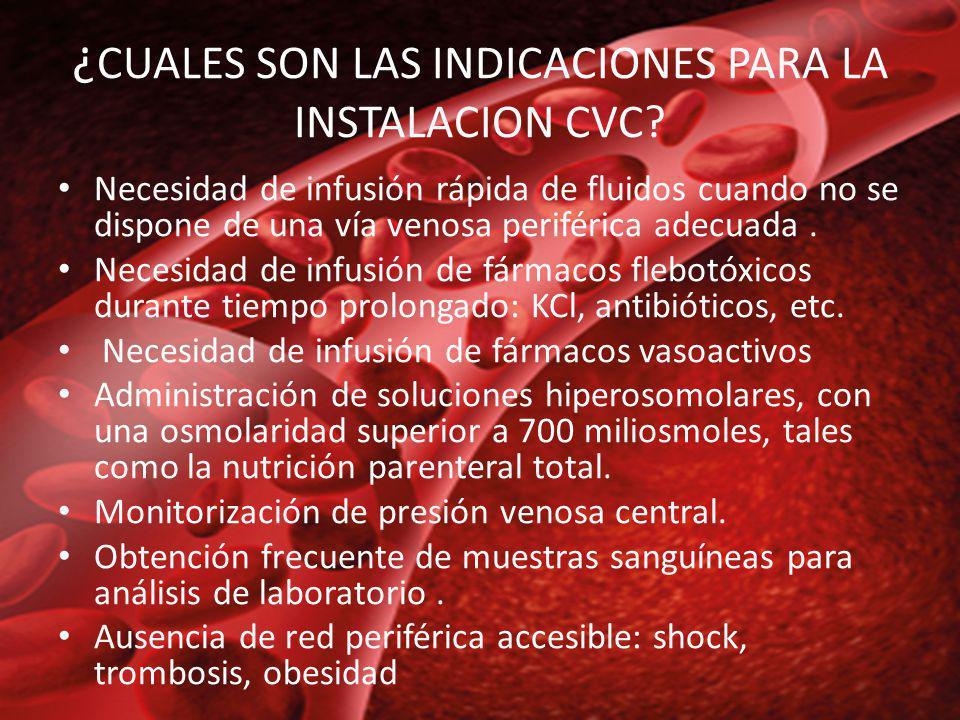 CONTRAINDICACIONES Las contraindicaciones absolutas están: Trombosis completa del sistema venoso profundo, como ocurre en el síndrome de vena cava superior Fiebre de origen no conocido o inexplicable.