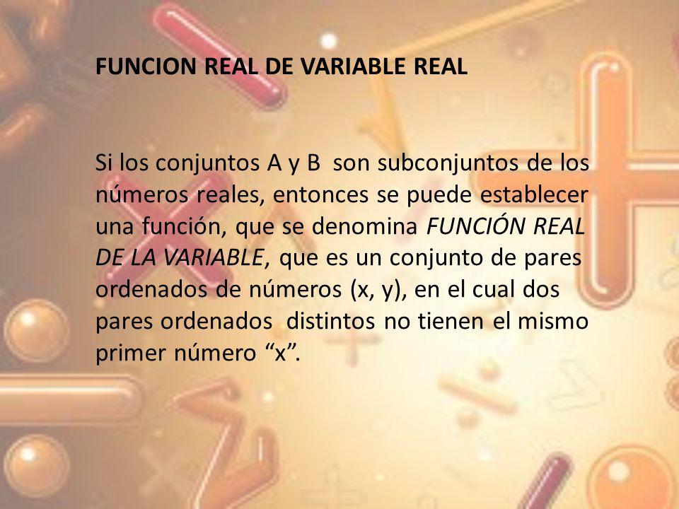 Una función REAL DE VARIABLE REAL, se denota de la siguiente forma F = {(x, y)| y = f (x), con x = Df y y R1} dondey = f(x) es la regla de correspondencia x= es la variable independiente y =es la variable dependiente D =es el dominio de la función R =es el rango de la función