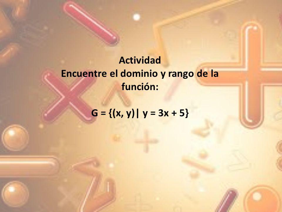 Encuentre el dominio y el rango de la función F = {(x, y) |y = 1/x-2 } En este caso, la variable independiente x no puede tomar el valor de 2, en virtud de que el denominador se hace 0 y la división entre cero no está definida, lo cual se obtiene de la inecuación X -2 0 X 2