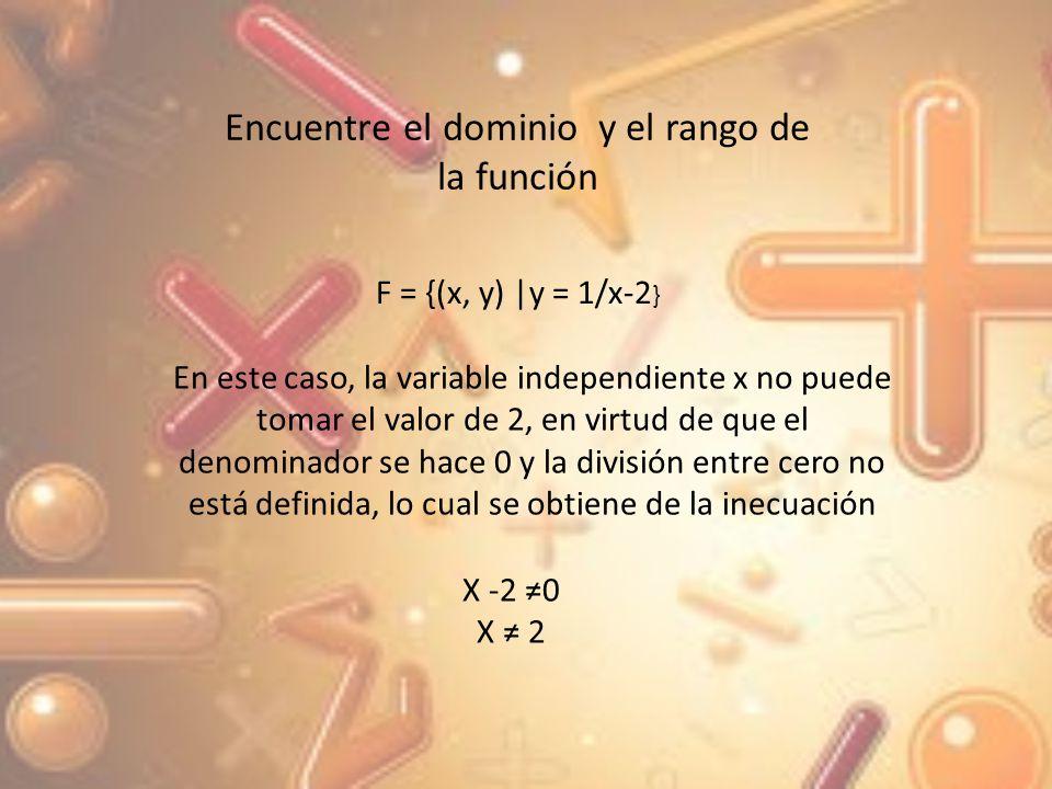De manera similar, de la ecuación; x- 2 = 1/y La variable y no puede tomar el valor de cero y 0 Por lo tanto el dominio de la función es el conjunto de todos los números x r con x 2 donde el conjunto de r es el conjunto de los números reales y el rango de la función es el conjunto de números reales r y r con y 0