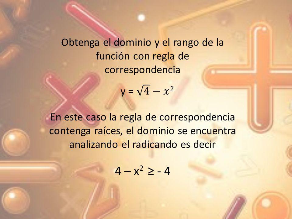 Por lo tanto el dominio de la función es x [-2; 2] y el rango de la función son todos los números positivos, es decir que y [0; +]